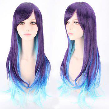 Violet Mixed Sky blue Long Side Bang Straight Lolita Cosplay Synthetic Wig