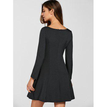 Hidden Zipped Lace Up Dress - BLACK L