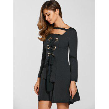 Hidden Zipped Lace Up Dress - BLACK S