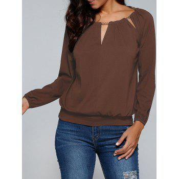 Buy Chain Embellished Cut T-Shirt COFFEE