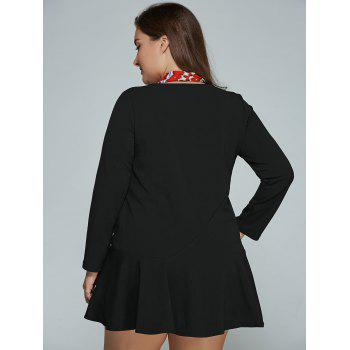 Mini Plus Size Long Sleeve Skater Dress - BLACK L