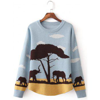 Elephant Tree Jacquard Pullover Sweater