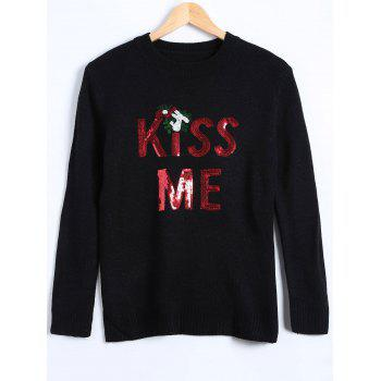 Christmas Kiss Me Sequin Pullover Sweater
