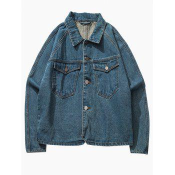 Button Up Breast Pocket Raglan Sleeve Denim Jacket