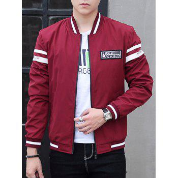 Rib Insert Stand Collar Zip Up Bomber Jacket
