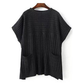 Crew Neck Ribbed Batwing Sweater With Pocket