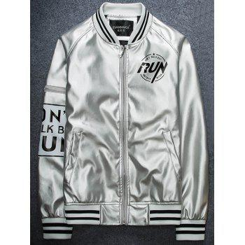 Raglan Sleeve Zippered Varsity Striped Faux Leather Jacket