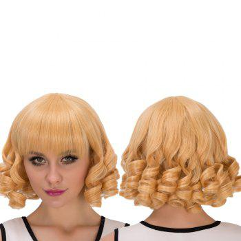 Cosplay Synthetic Short Sparkling Full Bang Curly Wig