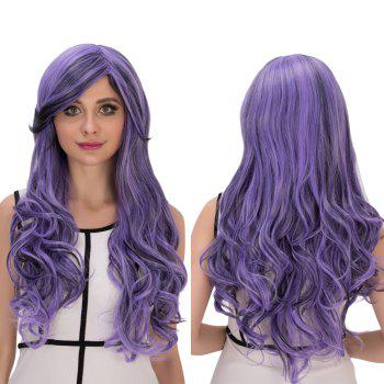 Cosplay Synthetic Long Purple Ombre Oblique Bang Wavy Wig