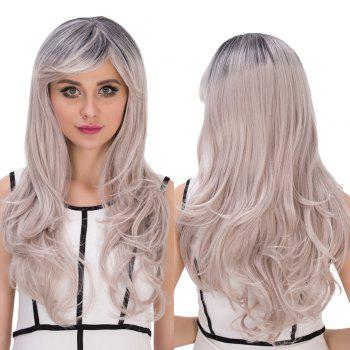 Cosplay Synthetic Long Gray Gradient Golden Side Bang Wavy Wig
