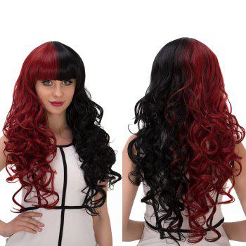 Cosplay Synthetic Long Fluffy Double Color Full Bang Wavy Wig