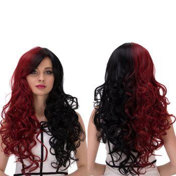 Cosplay Synthetic Long Fluffy Double Color Side Bang Wavy Wig