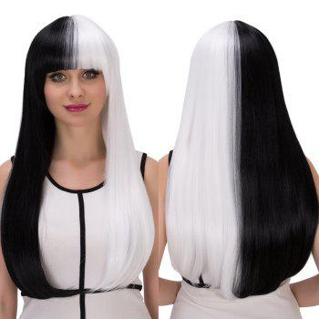 Cosplay Long Full Bang Straight Tail Adduction Double Color Synthetic Wig