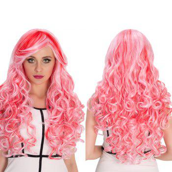 Cosplay Synthetic Long Red Mixed Pink Inclined Bang Shaggy Wavy Wig