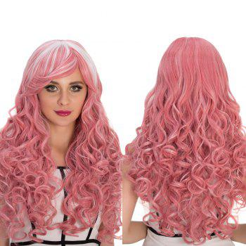 Cosplay Synthetic Long Smoke Pink Highlights Inclined Bang Shaggy Wavy Wig