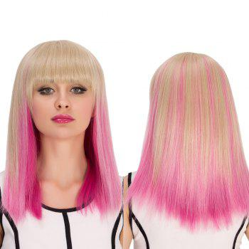 Medium Full Bang Straight Gradient Color Cosplay Synthetic Wig