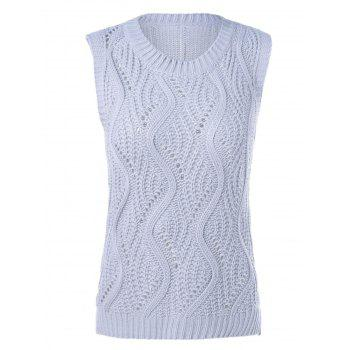 Sleeveless Openwork Ribbed Knitwear