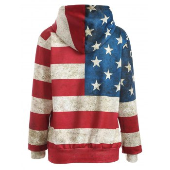 American Flag Print Pullover Hoodie - BLUE/RED XL