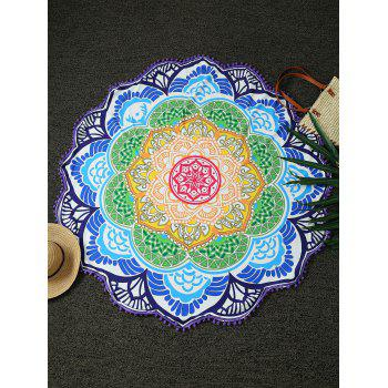 Round Lotus Print Tasseled Beach Throw