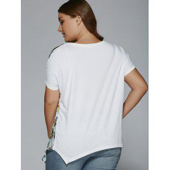 Plus Size Night Owl Print Patchwork Furcal T-Shirt - WHITE WHITE