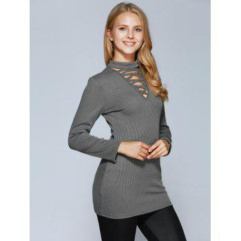Lace Up Long Sleeve Choker Top - GRAY XL