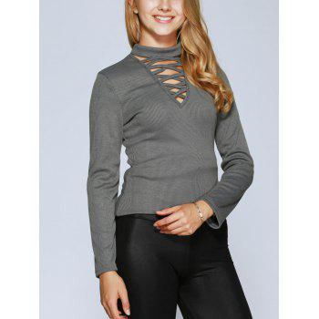 Lace Up Long Sleeve Choker Top - GRAY M