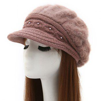 Casual Faux Pearl Embellished Faux Fur Patch Knit Newsboy Hat
