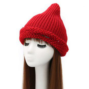 Label Double-Deck Crochet Thicken Knit Triangle Hat