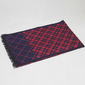 Plaid Pattern Fringed Edge Scarf -  WINE RED