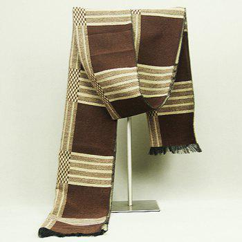 Checkered Pattern Fringed Edge Scarf - COFFEE COFFEE