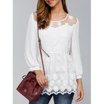 Buy Tiny Floral Embroidery Organza Blouse WHITE