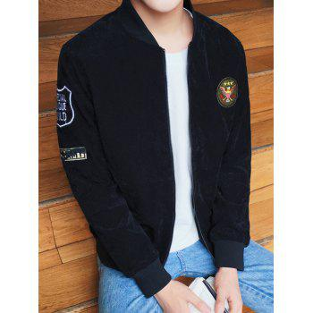 Zip Up Stand Collar Patch Design Jacket