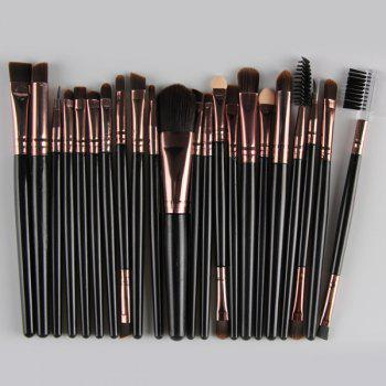 22 Pcs Nylon Facial Eye Lip Makeup Brushes Set - BLACK BLACK