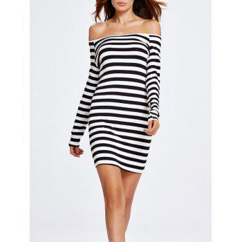 Off The Shoulder Stripe Tight Dress