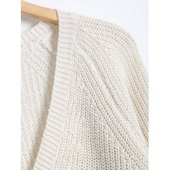 Raglan Sleeve V Neck Pullover Sweater - ONE SIZE ONE SIZE