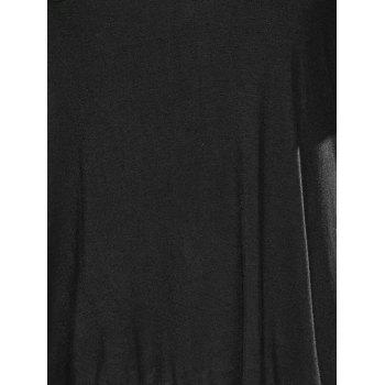 Loose Asymmetric Long T-Shirt - BLACK 3XL