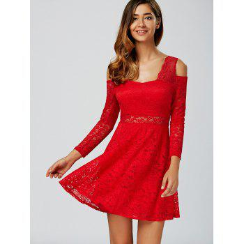 Cold Shoulder See Through Long Sleeve Lace Skater Mini Dress - RED RED