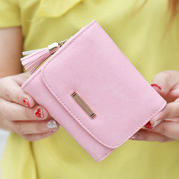 Metal Tassel PU Leather Small Wallet -  PINK