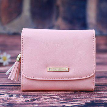 Metal Tassel PU Leather Small Wallet - PINK PINK
