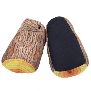 Cotton Fabric Color Block Stump Shape House Slippers - ONE SIZE(36-42) ONE SIZE(36-42)