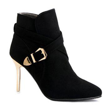 Buckle Strap Stiletto Heel Pointed Toe  Boots