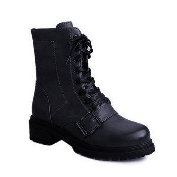 Vintage Lace-Up Buckle Combat Boots