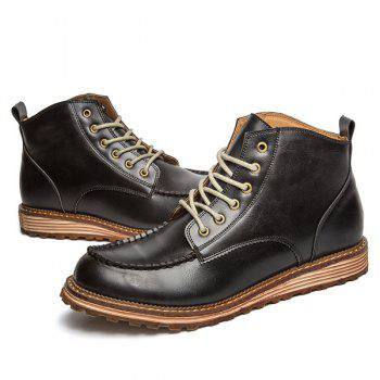 Round Toe Stitching High Top Boots - BLACK 40