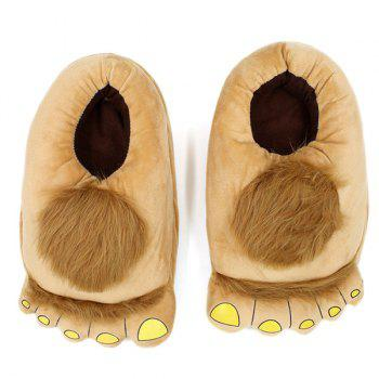Faux Fur Color Splicing Cartoon Shape House Slippers - LIGHT BROWN LIGHT BROWN