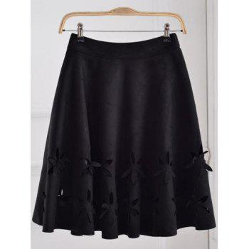 Suede Hollow Out A-Line Skirt