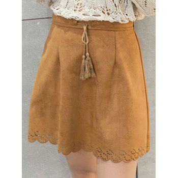 Scalloped Suede Drawstring Tassel Skirt