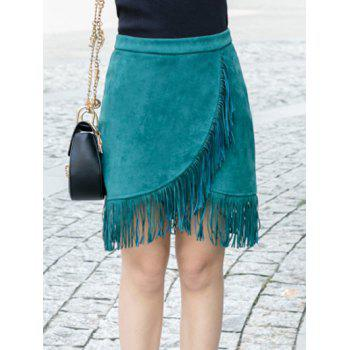 Asymmetrical Suede High Waist Fringed Skirt