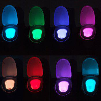 Body Induction Bathroom Eight Colors Change Toilet LED Small Night Light - COLORMIX COLORMIX