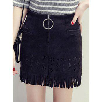 Metal Embellished Openwork Fringed Skirt