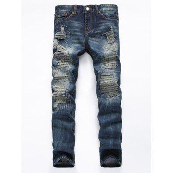 Zipper Fly Frayed Stitching Ripped Jeans